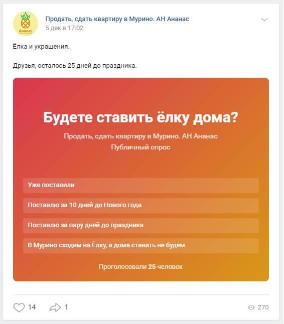 удачный пример опроса голосования соцсеть вконтакте